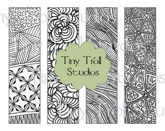 zentangle bookmarks set of 4 to print and color digital download