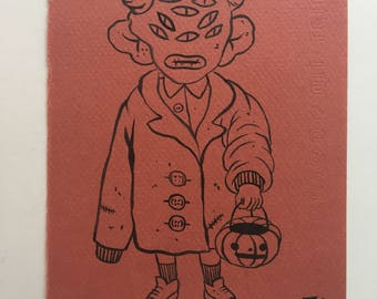 Small Original Drawing- Trick-or-treater