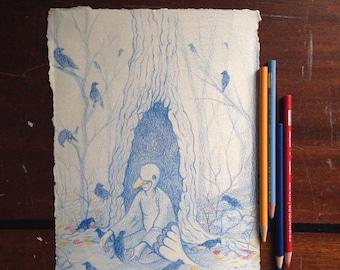ORIGINAL ART Crows colored pencil drawing