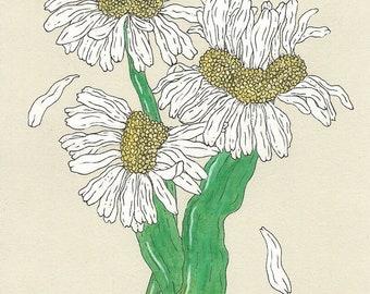 Mutated Daisy Bouquet Gouache Painting Original Art