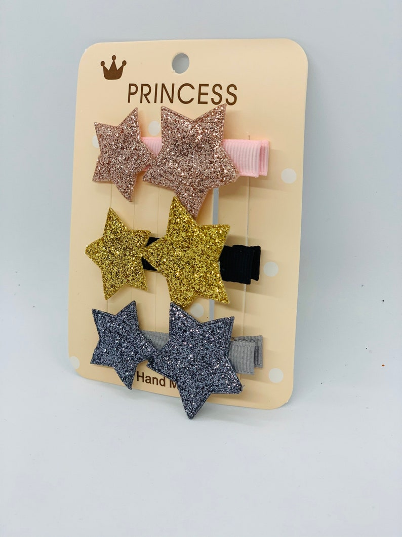 Hair Bows for Girls Pink Cute Glitter Star Girls Hair Clip Kids Hair Bows Gray Clip Baby Girls Hair Bows Gold Girls Hair Accessories