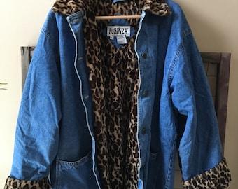 90's Leopard print Denim Coat XL
