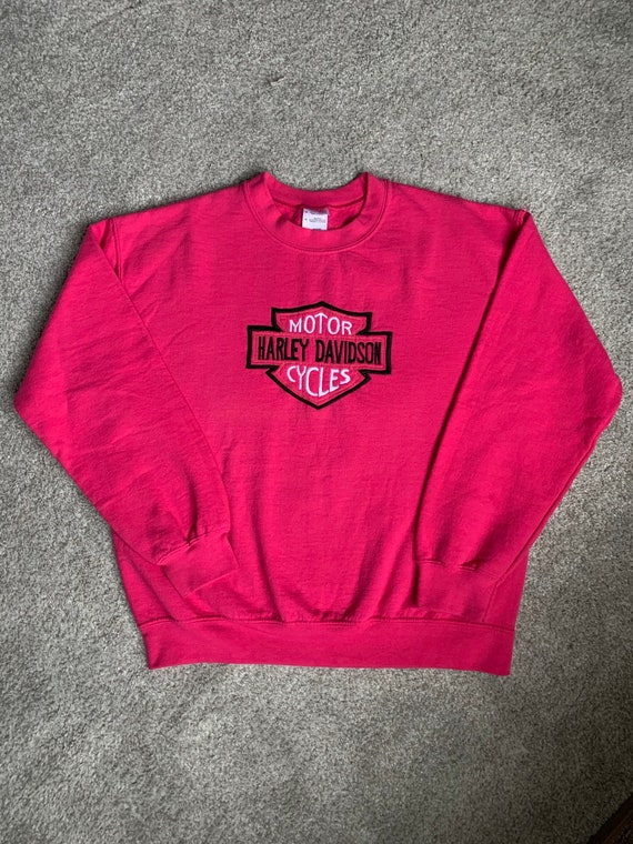 Harley Davidson Hot Pink Embroidered Crewneck Swea