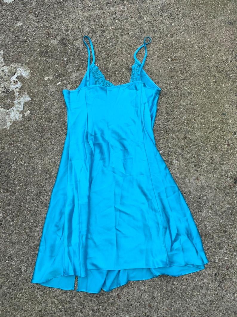 Vintage Baby Blue Satin Lingerie Slip Dress Medium