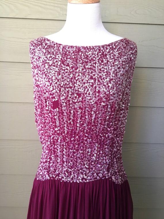 Vintage Sequin & Chiffon Plum Gown