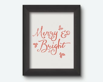 Instant Download | Merry & Bright Christmas Print 8x10