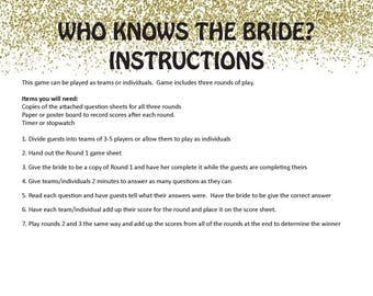 who knows the bride bridal shower game digital download wedding game bachelorette party game bridal shower game engagement party game