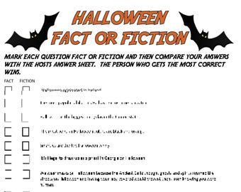 halloween fact or fiction digital download trivia game halloween party game fall party game all hallows eve game halloween trivia game