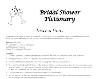 Bridal Shower Pictionary DIGITAL DOWNLOAD, Drawing Game, Wedding Game, Bachelorette Party Game, Bridal Shower Game, Engagement Party Game