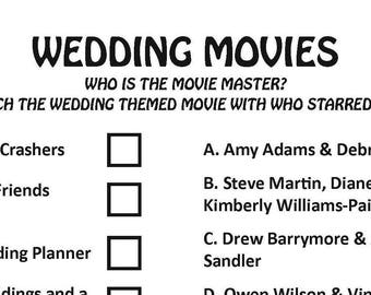 bridal shower wedding movies game digital download wedding game bachelorette party game bridal shower game engagement party game
