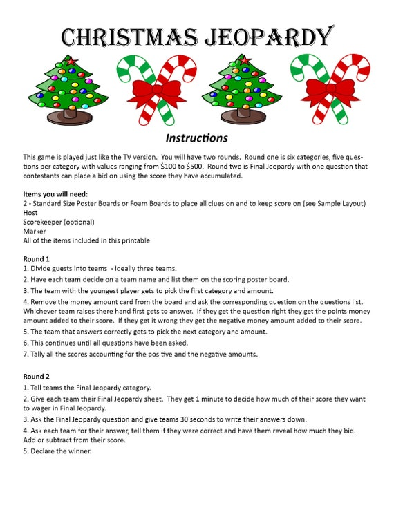 Printable Christmas Trivia.Christmas Jeopardy Digital Download Trivia Game Christmas Party Game Christmas Eve Game Christmas Trivia Game Holiday Party Game