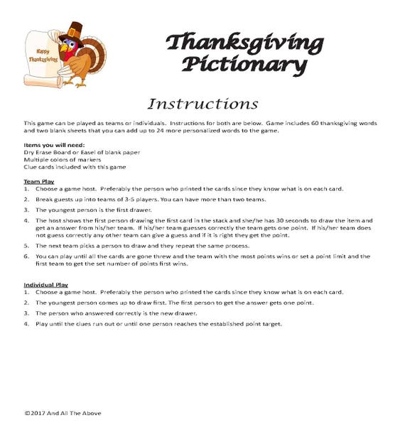 Thanksgiving Pictionary Digital Download Drawing Game Etsy