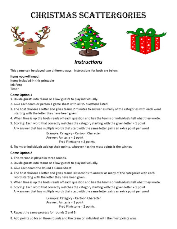 Christmas Scattergories Digital Download Word Game Christmas Etsy