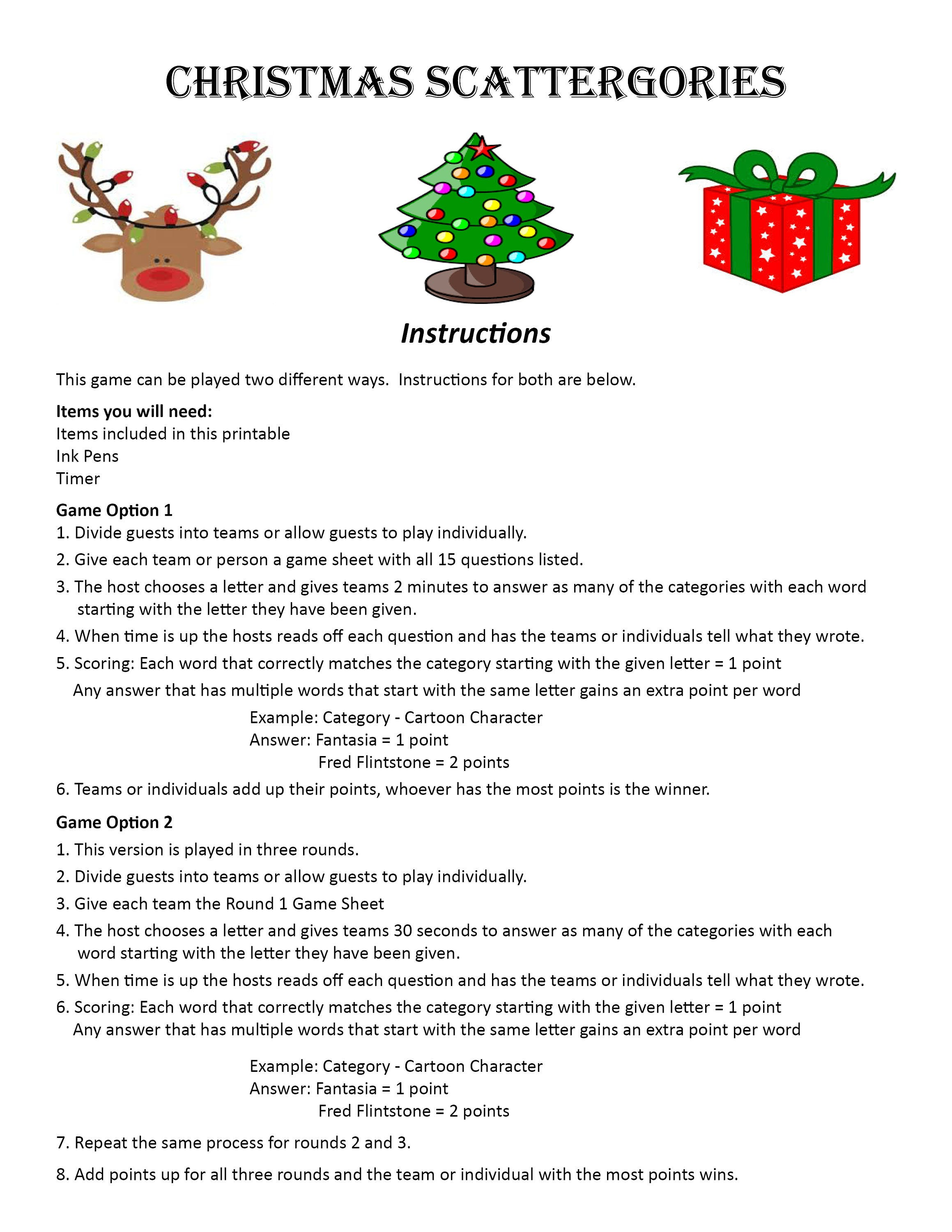 Christmas Scattergories DIGITAL DOWNLOAD Word Game Christmas | Etsy