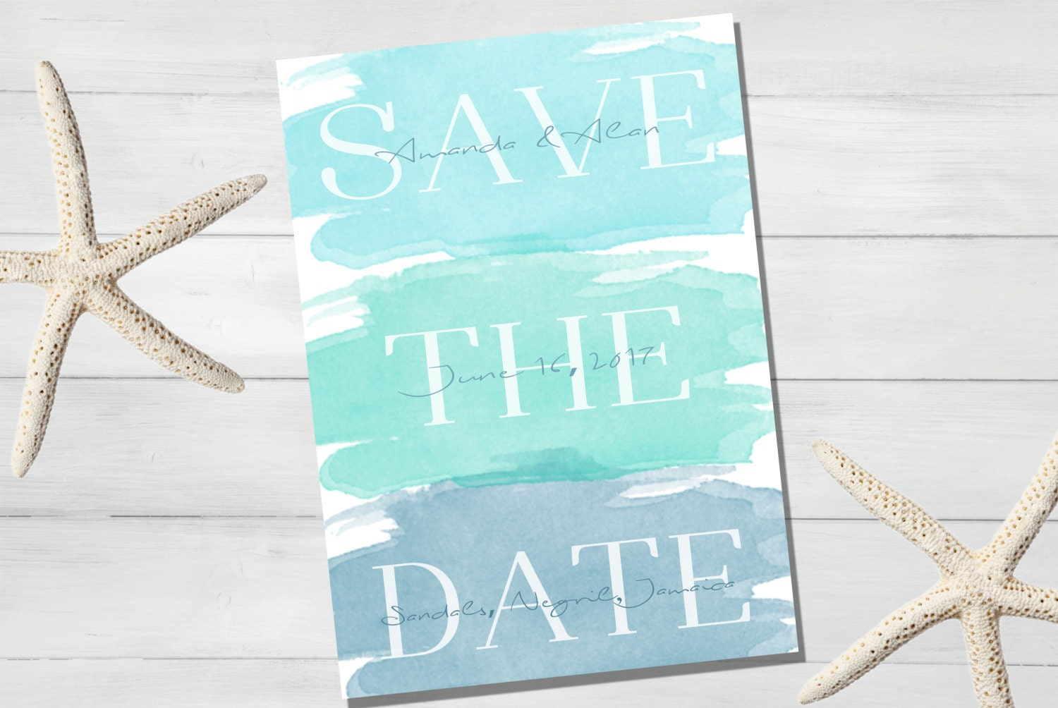 3ecf6438f9539 Watercolor Beach Themed Save The Date Announcement