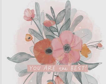 Greeting Card - You are the best! - Any occasion - Teacher, Coworker, Anniversary