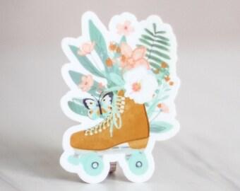 Roller Skate Sticker - Tropical Flowers Yellow Skate