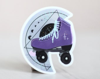 Roller Skate Sticker - Purple Moon Witchy Vibes