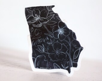 Georgia Florals Clear Sticker - GA State Outline Black with Florals