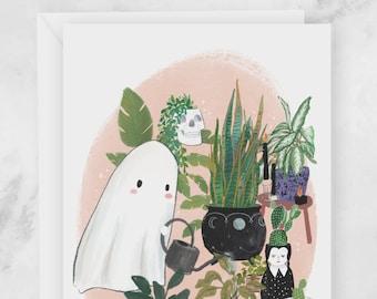 Halloween Greeting Card - Cute Ghost Watering Plants