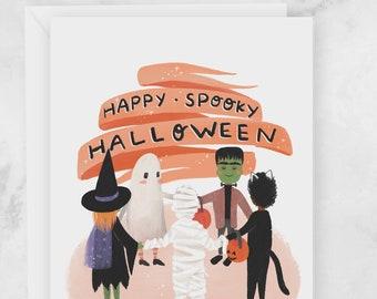 Halloween Cards - Cute Kids in Costumes Happy Spooky Halloween Greeting Card