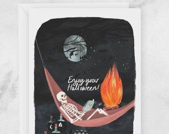 Halloween Greeting Card - Spooky Skeleton Relaxing - Enjoy Your Halloween