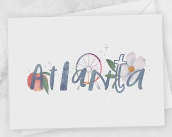 Atlanta greeting card - ATL skyline city postcard