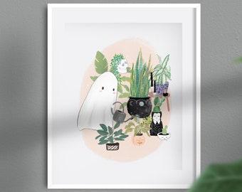 Halloween Print - Cute Ghost Watering Plants