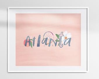 Atlanta Skyline & Peach Print - Wall Decor Moving Housewarming Gift All Georgia