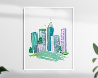 Watercolor Atlanta Print - New Home Wall Decor Art