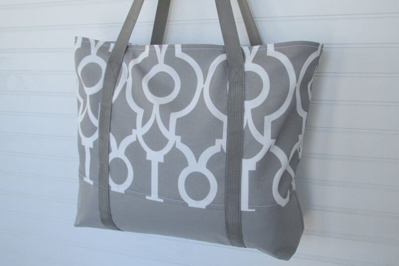 Zippered Geometric Tote Bag Large Grey Travel Tote Work Bag Overnight Bag Tote With Pockets