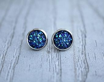 Metallic Blue Druzy earrings blue druzy earrings blue gemstone metallic druzy earrings bridal earrings blue earrings post earrings gifts