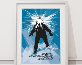 The Thing Poster - Why don't we just wait here for a little while Quote Minimal Style Poster Print, John Carpenter horror film Kurt Russell