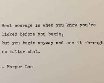 Harper Lee quote hand typed on antique typewriter
