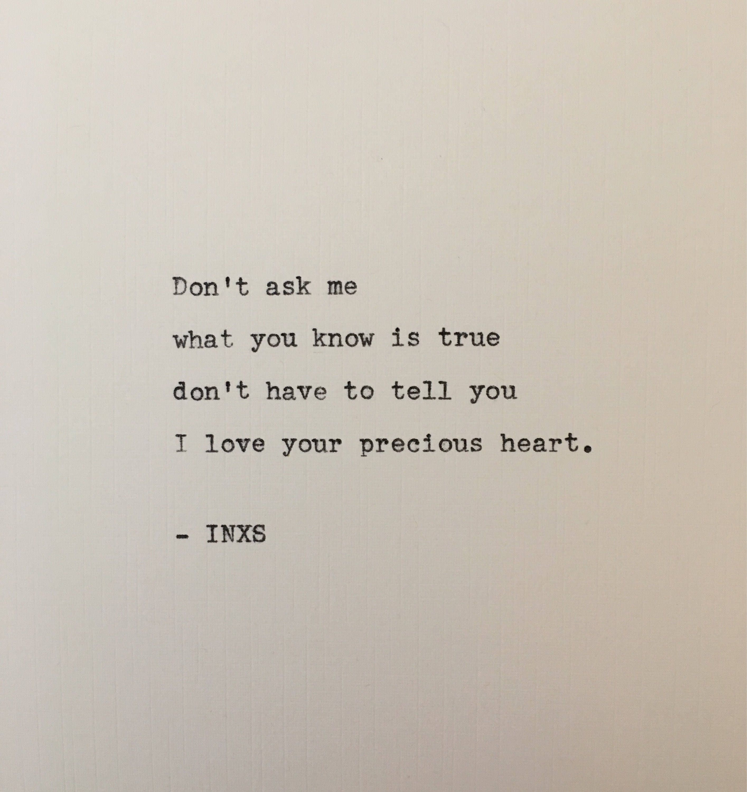 Inxs Never Tear Us Apart: INXS Never Tear Us Apart Lyrics Hand Typed On Antique