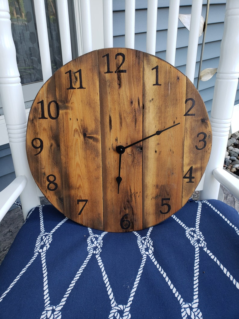 wood wall clock rustic wood clock wood clock wooden wall image 0