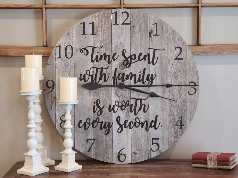 Large pallet wood wall clock rustic reclaimed farmhouse image 0