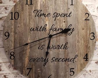 wood wall clock -rustic wood clock -barnwood clock -wooden wall clock -rustic clock -reclaimed wood signs -reclaimed wood clock