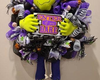 Frankenstein wreath, Halloween wreath, front door wreath, fall decor, XL wreath