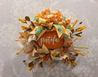 Fall wreath, front door wreath, turquoise truck, pumpkin wreath, small wreath, mesh wreath, floral wreath, ridden wreath, grateful