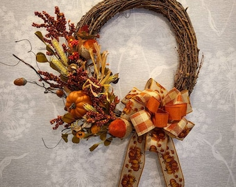 Grapevine wreath, harvest wreath, pumpkin, harvest decor, fall wreath, front door wreath, ribbon wreath, orange decor, floral wreath, acorn