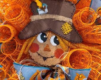 Scarecrow wreath, Halloween wreath, wall wreath, front door wreath, orange wreath, fall decor, wreaths for front door, ribbon wreath, mesh