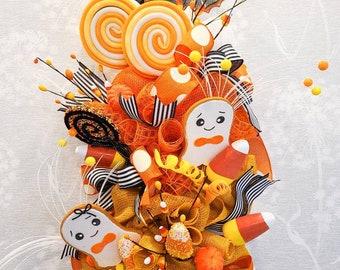 Candy corn, front door decor, Halloween decor, door swag, door wreath, door hanger, ghosts, bats, Halloween wreath