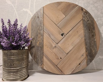 chevron wall decor, pink wood round, wood wall decor, feature wall, gallery wall, reclaimed wood