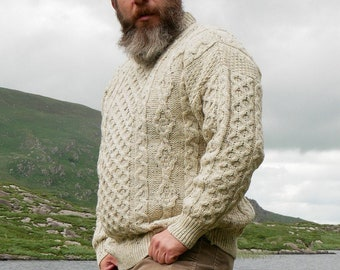 Traditional Aran Sweater - 100% pure new wool - cream with multicolour fleck - chunky&heavy - MADE IN IRELAND