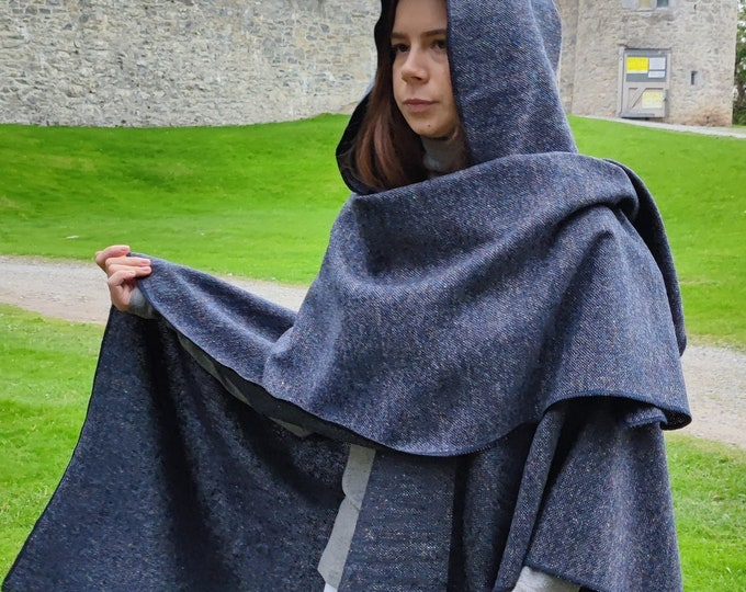 Irish Donegal Tweed Hooded Cape, Ruana, Wrap, Rectangle Cloak - Speckled Navy Blue - 100% Pure New Wool - HANDMADE IN IRELAND