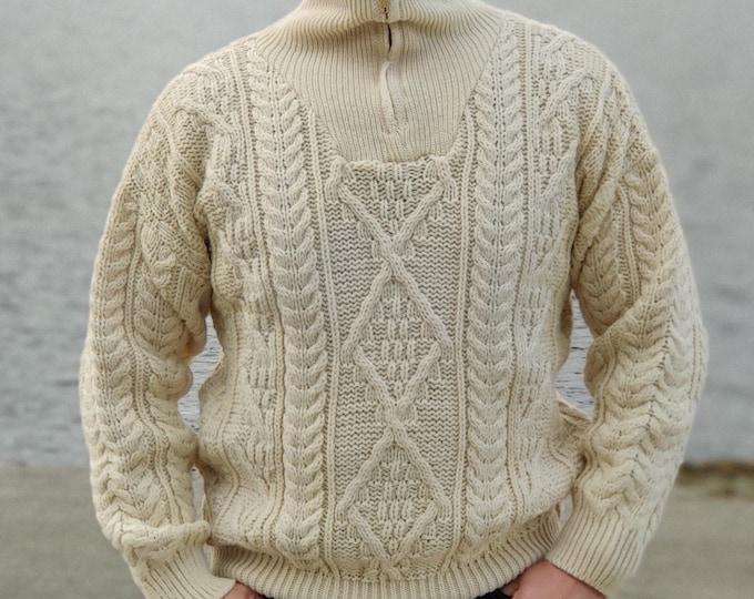 Organic Irish Wool Aran Half Zip Sweater - Cream - Undyed - 100% Pure New Wool - Chunky & Heavy -  Proper Aran Sweater - MADE IN IRELAND
