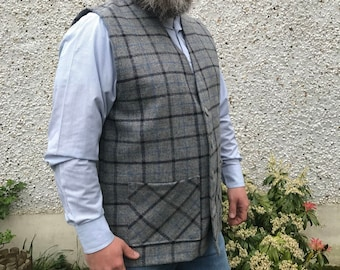 Traditional Irish 100%wool tweed waistcoat-FREE WORLDWIDE SHIPPING-grey/navy&blue overcheck-with pockets-ready 4shipping-Handmade in Ireland