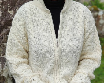 Irish Aran long cardigan with pockets - hooded - two-way zipper  - cream - 100% pure new wool - warm and chunky - MADE IN IRELAND