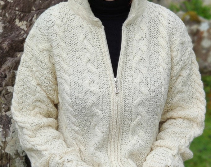 Irish Aran long cardigan with pockets - hooded - two-way zipper  - cream - 100% pure new wool - warm and chunky - MADE IN IRELAND